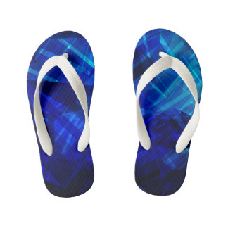 Cool Blue Ice Geometric Pattern Flip Flops