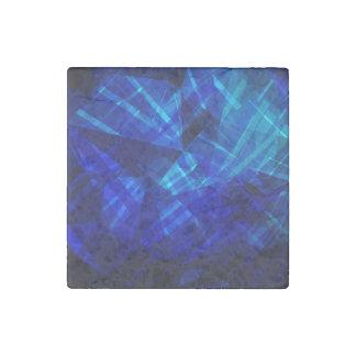 Cool Blue Ice Geometric Pattern Stone Magnet