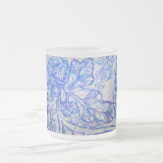 Cool Blue Leafy Design Frosted Glass Coffee Mug