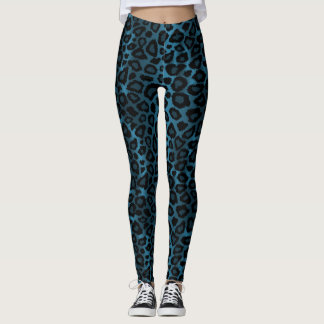 Cool Blue Leopard Animal Print Leggings