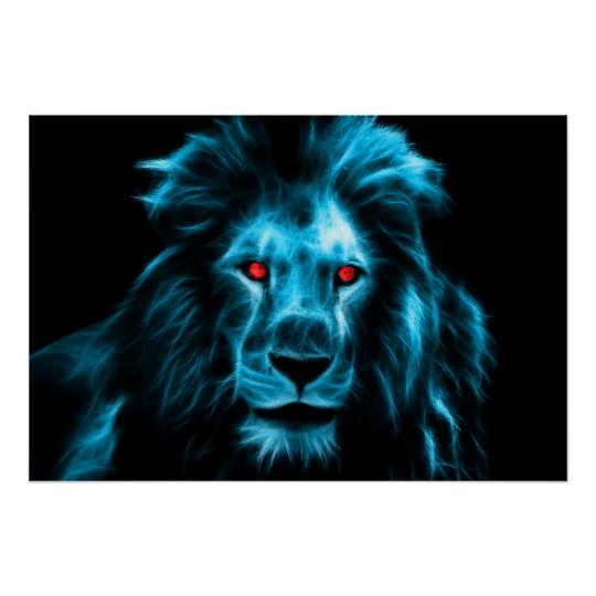 Cool Blue Lion With Blue Eyes Portrait Poster