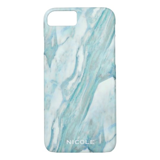 Cool Blue Marble Pattern with Your Name iPhone 8/7 Case