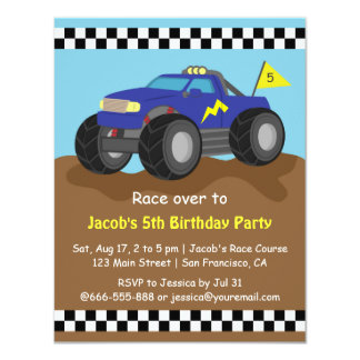 Cool Blue Monster Truck Birthday Party 11 Cm X 14 Cm Invitation Card