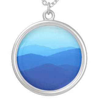 cool blue mountain ridges silver plated necklace