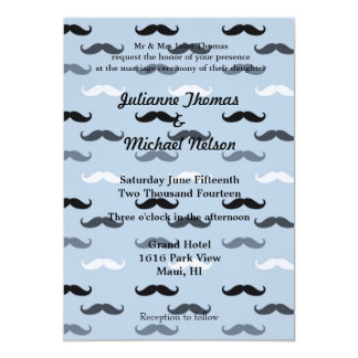 """Cool Blue Mustaches 5"""" X 7"""" Invitation Card"""
