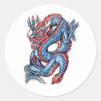 Cool Blue Oriental Dragon Tattoo Round Sticker
