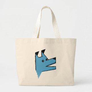 Cool Blue Origami Dog Jumbo Tote Bag