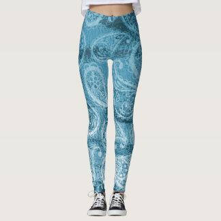 Cool Blue Paisley Water color Print Leggings