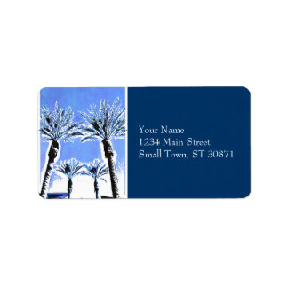 Cool Blue Palm Trees Paradise Beach Theme Decor Address Label