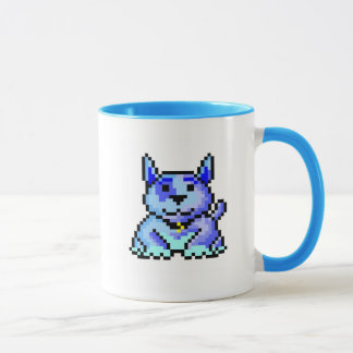 Cool blue pixel dog mug