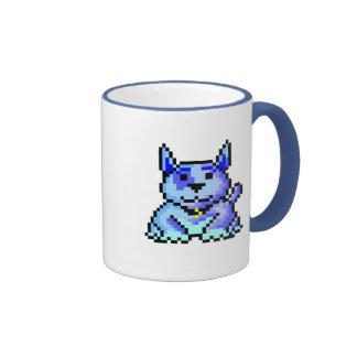 Cool blue pixel dog ringer mug