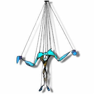Cool Blue Puppet on Strings Comic Character Standing Photo Sculpture