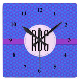 Cool Blue Purple Geometric Custom Monogram Wallclock