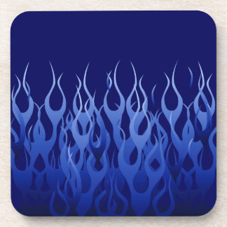 Cool Blue Racing Flames Beverage Coaster