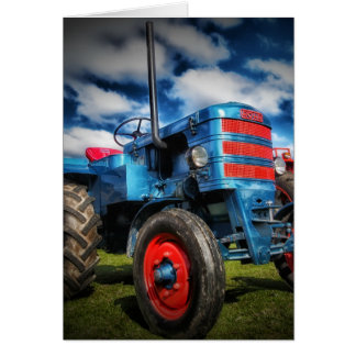 Cool Blue Red Antique Tractor Gifts for Farmers Card