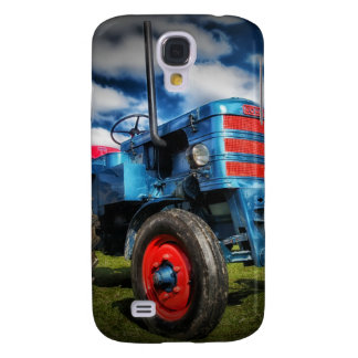 Cool Blue Red Antique Tractor Gifts for Farmers Galaxy S4 Case
