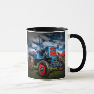 Cool Blue Red Antique Tractor Gifts for Farmers Mug