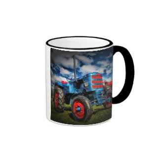 Cool Blue Red Antique Tractor Gifts for Farmers Ringer Mug