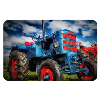 Cool Blue Red Antique Tractor Gifts for Farmers Rectangle Magnets