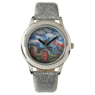 Cool Blue Red Antique Tractor Gifts for Farmers Watch
