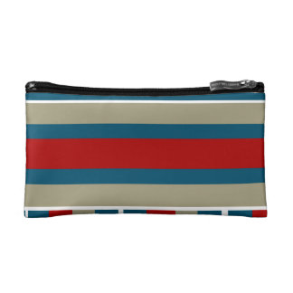 Cool Blue Red Tan White Striped Pattern Nautical Makeup Bags