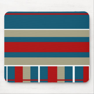 Cool Blue Red Tan White Striped Pattern Nautical Mouse Pad