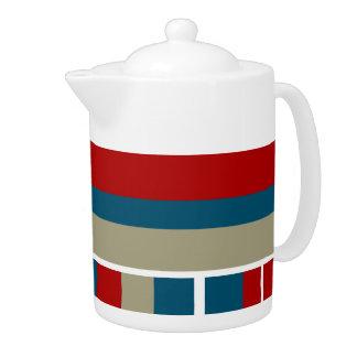 Cool Blue Red Tan White Striped Pattern Nautical