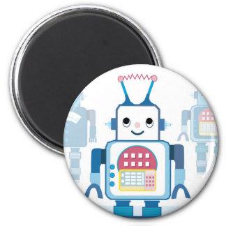 Cool Blue Robot Gifts Novelties 6 Cm Round Magnet