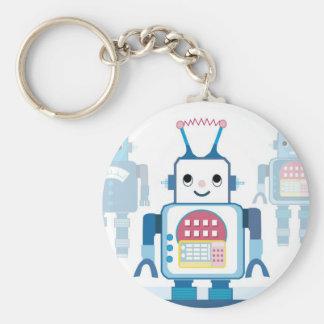 Cool Blue Robot Gifts Novelties Basic Round Button Key Ring