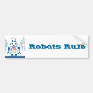 Cool Blue Robot Gifts Novelties Bumper Sticker