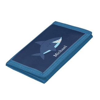 Cool Blue Smiling Shark Trifold Wallet