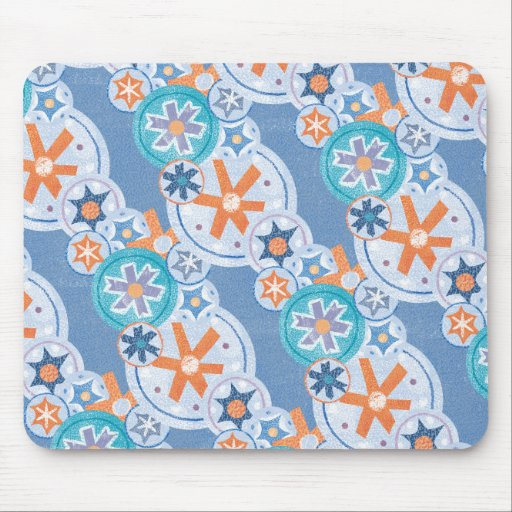 Cool Blue Snowflakes Winter Christmas Holiday Snow Mousepads
