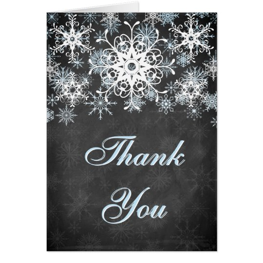 Cool Blue Snowy Chalkboard Wedding Thank You Card