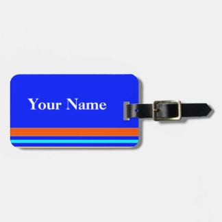 Cool Blue Stripe Luggage Tag
