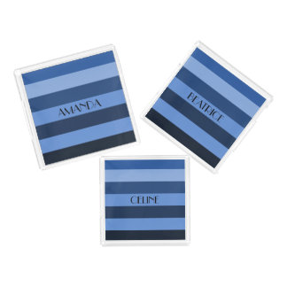 Cool Blue Stripes Pattern Personalized Name