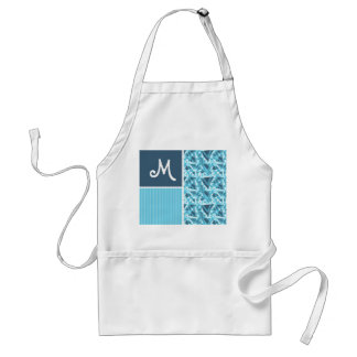 Cool Blue Triangle Pattern Aprons