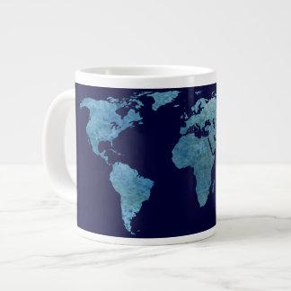 Cool Blue World Map Large Coffee Mug