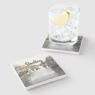 Cool Boating in Amsterdam Center Monogrammed Stone Beverage Coaster