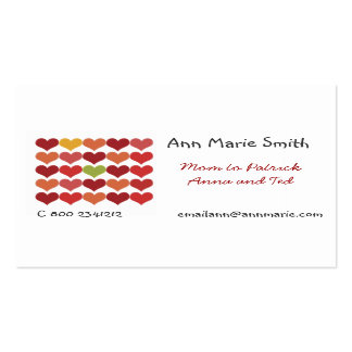 Cool Bold Fancy Festival Cute Red Hearts Pack Of Standard Business Cards
