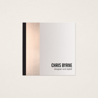 Cool Bold Modern Black and Rose Gold Stripe Square Square Business Card