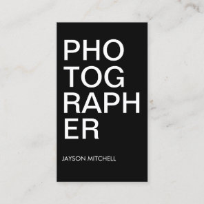 Cool Bold Type Black and White Photographer Business Card