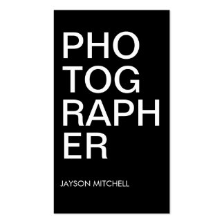 Cool Bold Type Black and White Photographer Business Card Template