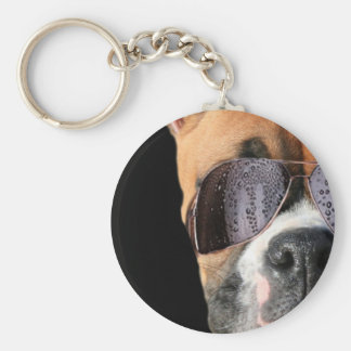 Cool Boxer in sunglasses keychain