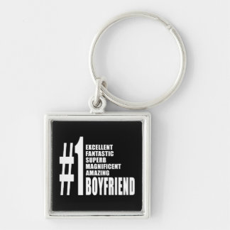 Cool Boyfriends : Number One Boyfriend Silver-Colored Square Key Ring