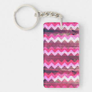 Cool bright pink zigzag seamless wood effects key ring