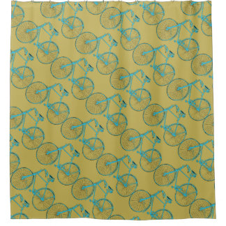 Cool Brown gold Aqua bicycle 🚵 Shower curtain