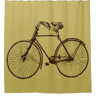 Cool Brown gold yellow bicycle 🚵 Shower curtain