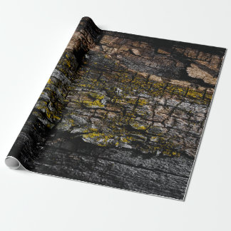 Cool Brown mossy wood bark with yellow lichen Wrapping Paper