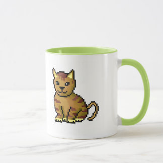 Cool brown pixel tabby cat mug