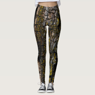 Cool Brown wood bark with yellow lichen Leggings